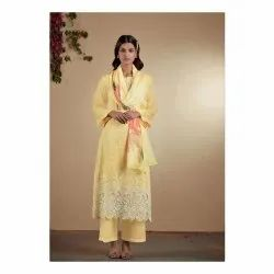 Yellow Cambric Cotton Unstitched Suit