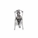 White Metal Silver Plated Chair Ganesh Statue For Home Decor & Wedding & Corporate Gift