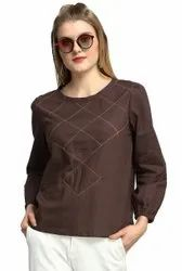 Brown Galaxy Trendz Womens Cotton Tops