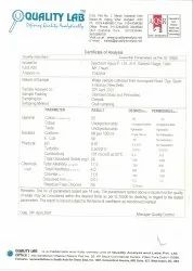 Quality Labs Certificate Of Analysis For IS:10500 Limits