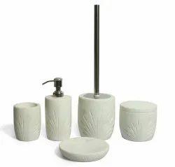 Polished White 5 Piece Modern Marble Bathroom Set