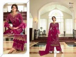 Pink Designer Pakistani Lawn Suit, Size: Free