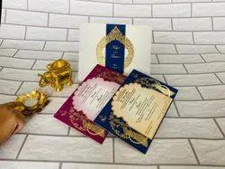Royal Blue Scroll Wedding Cards