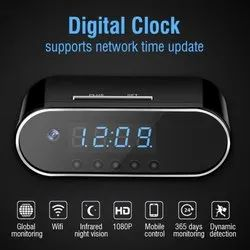 Plastic Day & Night Table Clock Spy Camera, For Security