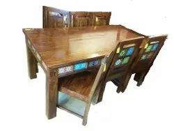 Sheesham Wooden Dining Table Set Six Seater
