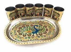 Meenakari Steel Tray with 6 glass set