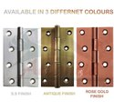 Atlantic Window Butt Hinges 3 Inch x 14 Gauge/2 mm Thickness (Stainless Steel, Rose Gold Finish)