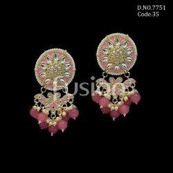 Fusion Arts Indo Western Meenakari Kundan Earrings