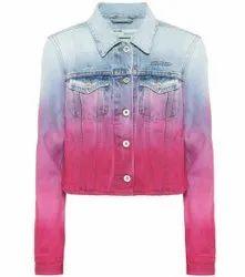 Women Collar Neck Tie Dye Denim Jacket