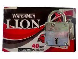With Key Normal Watchmen Lion Iron Padlock, Padlock Size: 40mm, Chrome
