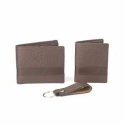 Wallet Card Holder Keychain Brown