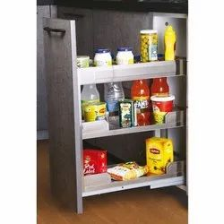 Slimline Satin Masala Pullout With Soft Close For 350 Mm Carcass Width (3 Shelf)