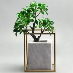 Outdoor Rectangular White Marble Flower Pot, For Decoration, Size: 9 X 9 Inch