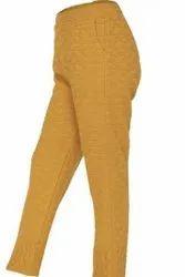 Plain Women Yellow Ladies Woolen Pyjama, Large