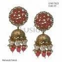 Fusion Arts Kundan Pearl Jhumka Earrings