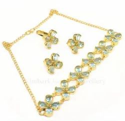 Golden Brass Gold Plated Choker Necklace Ring Earring Jewelry Sets, Size: 18