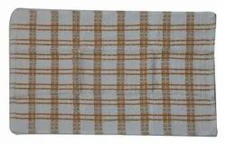 Orange and White Checked Cotton Hand Towel, For Bathroom, Size: 20x17inch