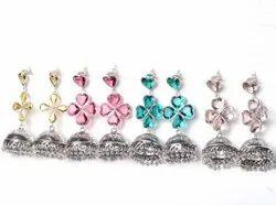 Pink Quartz, Tourmaline, Citrine Gemstone Jhumka Earrings Jewelry