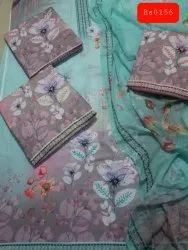 Sea Green Digital Cotton Printed Unstitched Suit