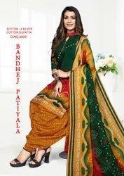 Bandhej Patiyala Cotton  Dress Material