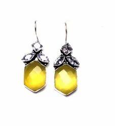 Black Onyx, Citrine, Turquoise Gemstone Dangle Earrings Jewelry
