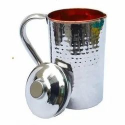 Steel Copper Water Jug Hammered Design