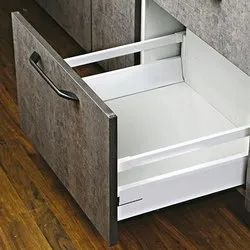 Slimline Tandem Drawer Box  With Double Gallery With Load Capacity Upto 45 Kg (White, 500Mm/8 Inch)