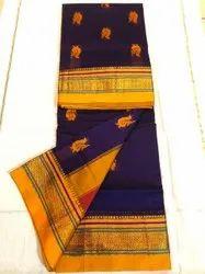 Wedding Wear Embroidery Cotton Chikki Kasuthi Saree, 6.3 m (with blouse piece)
