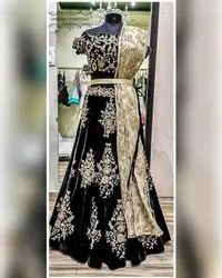 Silk Semi-stitched Bridal Hand Embroided Wedding Lehenga, Size: Free Size