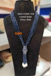 Blue Artificial Necklace Designer Crystal Beads Fancy Mala for Women Jewellery, earring,tikka necklace