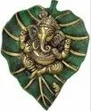 Gold Plated Ganesh Wall Hanging On Green Leaf For Home Decor & Corporate Gift