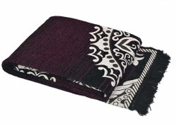 Dark Brown Printed Cotton Floor Carpet, Size: 5x7feet