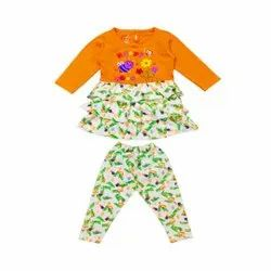 Full Sleeve Frock With Pant For Kids Girls