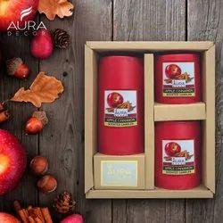 Auradecor Set Of 3 Fragrance Pillar Candles ( Apple Cinnamon )