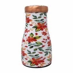 Style Homez Handmade Pure Copper Bedroom Bottle 1100 Ml, With 200 Ml Inbuilt Glass- Cum- Cap