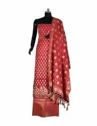 Maroon 3 Piece Ladies Unstitched Silk Suit