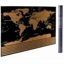 Dakos Plastic Scratch Off Travel World Map Wall Poster With Country Flags ( Small)