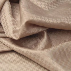 Printed Brown Dobby Satin Linen Fabric, GSM: 150