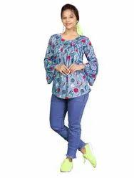Kiwa Studio Round Ladies Cotton Fancy Top Full Sleeve