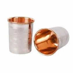 Steel Copper Silver Touch Copper Glass Set Of 2