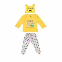 Full Sleeve Top Pant Set With Cap For Baby Unisex