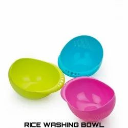 Pink Oval 9inch Plastic Rice Strainer Bowl, For Home, Thickness: 5mm