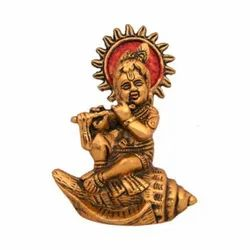 Gold Plated Laddu Gopal Statues Sitting On Shankh For Home Decor & Corporate Gift
