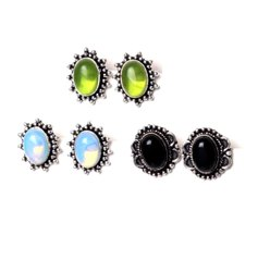 Black Onyx, Opalite, Peridot Gemstone Stud  Earrings Jewelry