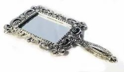 Metal SIlver Plated Hand Mirror For Corporate Gift