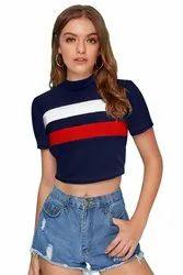 Polyester/Knitting Black,Blue Ladies T-Shirt Present Meghu Fashion, Age Group: 15-35
