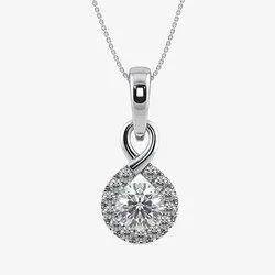 Valentine Jewellery White Diamond Solitair Pendant With Accent Halo Diamonds, 1.044