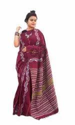 Multicolor kanthastitch Khesh Kantha Saree, .08 Cm, 6.3 mtr