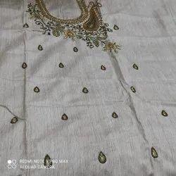 White Hand Embroidery Silk Unstiched Kurti, Size: 2.5 Mtr