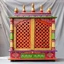 Wooden Temple Painted Multicolour Carved